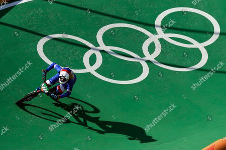 Manon Valentino of France competes in the women's seeding run at the Olympic BMX Center during the 2016 Summer Olympics in Rio de Janeiro, Brazil