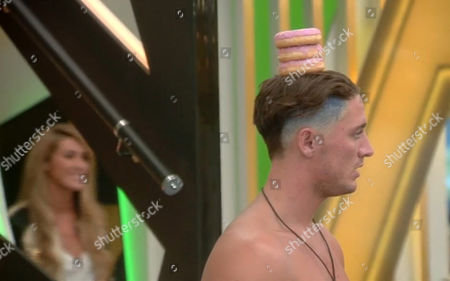 Shopping Task - Stephen Bear balances doughnuts on his head and is in for a shock as his girlfriend Lillie Lexie Gregg enters the room