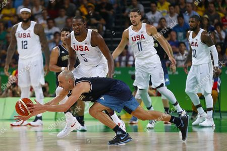 Manu Ginobili of Argentina against United States during quarterfinal round Men's Basketball at Rio 2016 Olympic Games at the Arena Carioca 1 in Rio de Janeiro, Brazil, Wednesday, Aug. 16, 2016