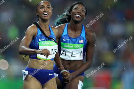 Brianna Rollins(left) of United States and Nia Ali, of United States celebrates after women's 100m Hurdles Final on the athletics competitions in the Olympic stadium of the 2016 Summer Olympics in Rio de Janeiro, Brazil, Tuesday, Aug. 16, 2016