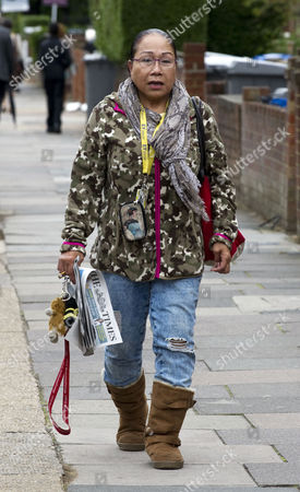 Stock Image of Myra Ling-ling Forde 67 Near Her Home In Kilburn Nw London. She Operated A Brothel From Her Home In Salisbury Wiltshire And She Had Allegedly Threatened To Expose Sir Edward Heath As A Paedophile She Was Found Guilty Of Brothel-keeping In 2009.