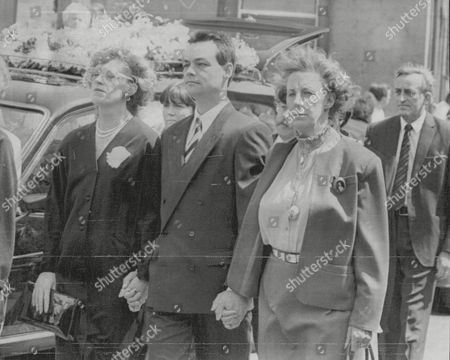 Funeral Of Russell Harty The Tv Presenter. L-r: Actress Madge Hindle Close Friend Jamie Mcneill And Pat Heald Russell's Secretary. Box 692 50906165 A.jpg.