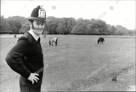 Pc Ian Beattie Back On His Beat Of Lyndhurst And The New Forest. Story On Rural Police And Their Role In The Nottingham Pit Strike. Box 693 72906169 A.jpg.
