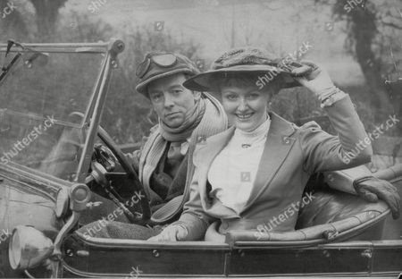 Actors Peter Mcenery And Sarah Badel Who Feature In Bbc Radio Production Of D.h. Lawrence's 'women In Love' Riding In A 1911 Rover Motorcar At Wilmslow Cheshire. Box 694 9290616110 A.jpg.