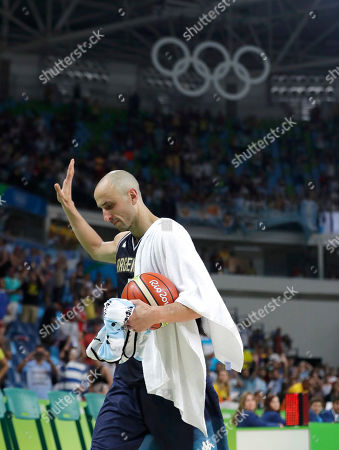 Manu Ginobili Argentina's Manu Ginobili (5) walks off the court with a game ball after the team's loss to United States in a men's quarterfinal round basketball game at the 2016 Summer Olympics in Rio de Janeiro, Brazil