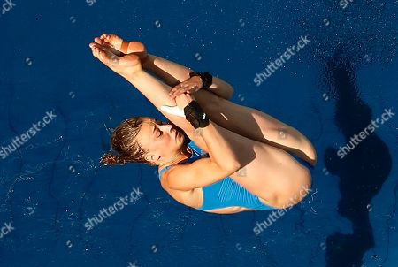 France's Laura Marino competes during the women's 10-meter platform diving preliminary round in the Maria Lenk Aquatic Center at the 2016 Summer Olympics in Rio de Janeiro, Brazil