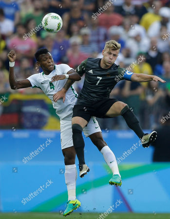 Nigeria's Abdullahi Shehu, left, and Germany's Maximilian Meyer vie for the ball during a semi-final match of the men's Olympic football tournament between Germany and Nigeria in Sao Paulo