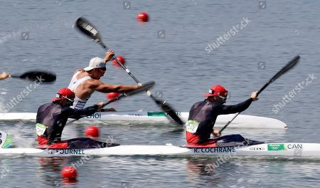 Canada's Ryan Cochrane and Hugues Fournel paddle during the men's kayak double 200m semifinal during the 2016 Summer Olympics in Rio de Janeiro, Brazil