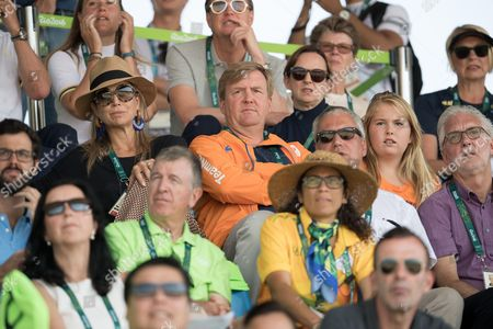 Stock Image of King Willem-Alexander, Queen Maxima and Crown Crown Princess Catharina-Amalia of The Netherlands attend round 2 of the Equestrian Jumping team event