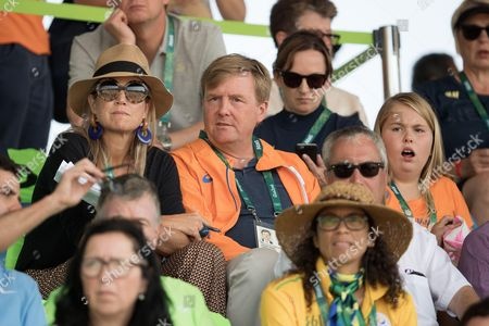 Stock Picture of King Willem-Alexander, Queen Maxima and Crown Crown Princess Catharina-Amalia of The Netherlands attend round 2 of the Equestrian Jumping team event