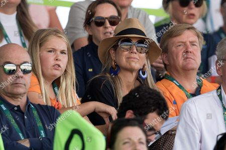 King Willem-Alexander, Queen Maxima of The Netherlands and Crown Crown Princess Catharina-Amalia attend round 2 of the Equestrian Jumping team event