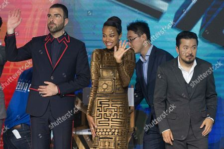 Zachary Quinto, Zoe Saldana, Justin Lin Actor Zachary Quinto, left and actress Zoe Saldana, second from left reac near director Justin Lin, at right, during a press conference for Star Trek Beyond, the latest in the popular sci-fi franchise held in Beijing