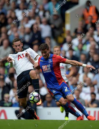 Vincent Janssen of Tottenham Hotspur and Joel Ward of Crystal Palace