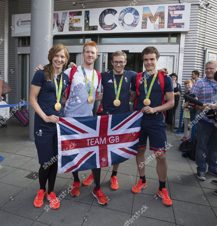 Olympic hero Jason Kenny,Ed Clancy,Steve Burke, Joanna Rowsell arrive into Manchester Airport, Manchester on 18th August 2016