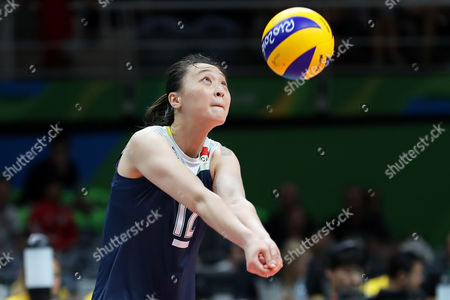 Ruoqi Hui of China during a women's semifinal volleyball match at the 2016 Summer Olympics in Rio de Janeiro, Brazil, Thursday, Aug. 18, 2016