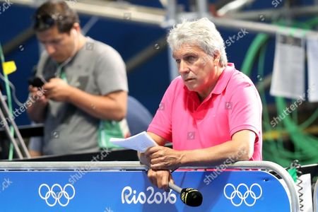 Boxing -John Inverdale of BBC watching Nicola Adams of Team GB in the Women's Fly 51 kg semi-final against Ren Cancan of China during day thirteen of the Rio Olympics 2016 on the 18th August 2016