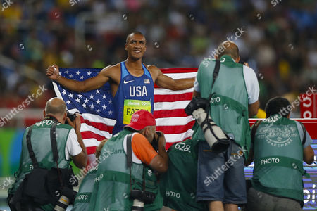 United States' Ashton Eaton, gold medal, celebrates during competitions of Decathlon at Athletics at Rio 2016 Olympic Games at the Olympic Stadium in Rio de Janeiro, Brazil, Thursday, Aug. 16, 2016