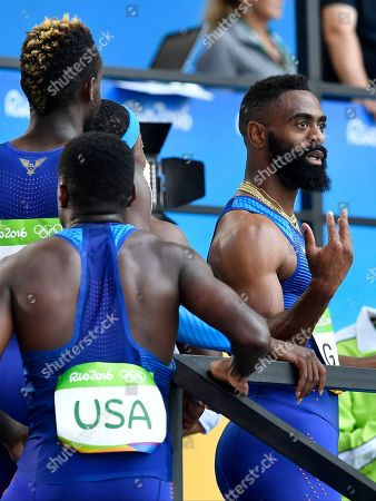 United States' Tyson Gay after competing in a men's 4x100-meter relay heat during the athletics competitions of the 2016 Summer Olympics at the Olympic stadium in Rio de Janeiro, Brazil
