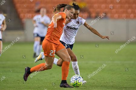 Houston Dash midfielder Cami Privett (23) battles for the ball with Washington Spirit defender Caprice Dydasco (3) during the 2nd half