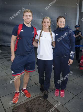 Olympic hero Laura Trott arrives into Manchester Airport with Philip Hindes and Katie Marchant, Manchester on 19th August 2016