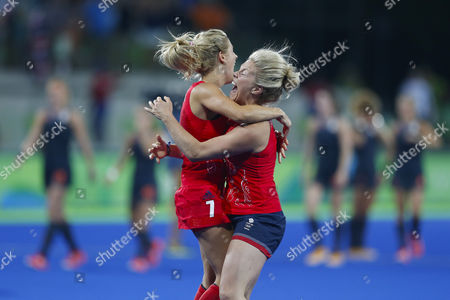Stock Picture of Georgie Twigg of Great Britain team celebrate victory and the gold medal after match against the Netherlands in Women's Field Hockey in Hockey Olympic Centre at the Rio 2016 Olympic Games in Rio de Janeiro, Brazil, Friday, Aug. 19, 2016
