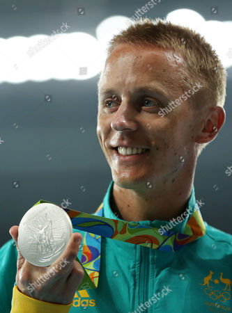 Jared Tallent of Australia during ceremony victory of Men's 50km Race Walk the athletics competitions at 2016 Summer Olympics at the Olympic stadium in Rio de Janeiro, Brazil, Friday, Aug. 17, 2016
