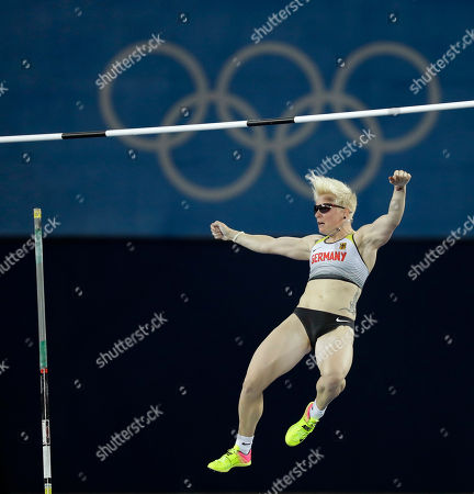 Stock Photo of Germany's Martina Strutz competes in the women's pole vault final, during the athletics competitions of the 2016 Summer Olympics at the Olympic stadium in Rio de Janeiro, Brazil