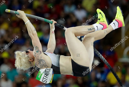 Germany's Martina Strutz competes in the women's pole vault final, during the athletics competitions of the 2016 Summer Olympics at the Olympic stadium in Rio de Janeiro, Brazil