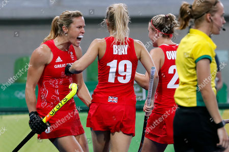 Britain's Crista Cullen, left, celebrates after scoring against Netherlands during a women's field hockey gold medal match at the 2016 Summer Olympics in Rio de Janeiro, Brazil