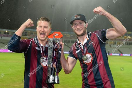 Northants pair Alex Wakely and man of the match Josh Cobb with the NatWest t20 Blast trophy after winning at Edgbaston, Birmingham