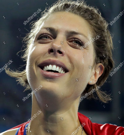 Croatia's Blanka Vlasic cries at the end of the women's high jump final, during the athletics competitions of the 2016 Summer Olympics at the Olympic stadium in Rio de Janeiro, Brazil