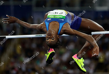 Stock Photo of United States' Chaunte Lowe competes in the women's high jump final, during the athletics competitions of the 2016 Summer Olympics at the Olympic stadium in Rio de Janeiro, Brazil