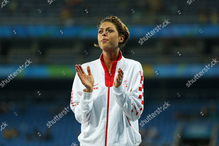 Croatia's Blanka Vlasic celebrates bronze medal for the women's high jump during an athletics podium ceremony at the Summer Olympics inside Olympic stadium in Rio de Janeiro, Brazil, Saturday, Aug. 20, 2016