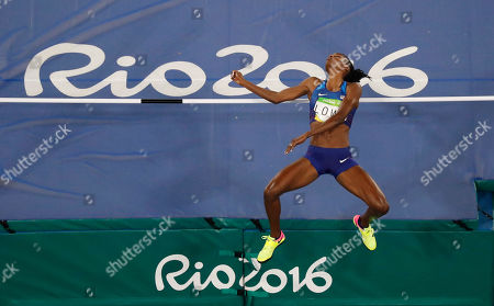 Stock Image of United States' Chaunte Lowe competes in the high jump finals during the athletics competitions of the 2016 Summer Olympics at the Olympic stadium in Rio de Janeiro, Brazil