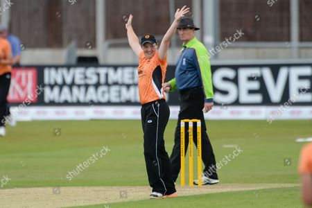 Arran Brindle of Southern Vipers celebrates the wicket of Heather Knight during the Women's Cricket Super League final between Southern Vipers and Western Storm at the Essex County Ground, Chelmsford
