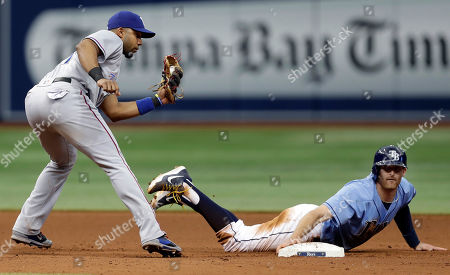 Elvis Andrus, Brad Miller Tampa Bay Rays' Brad Miller, right, dives back to second base ahead of the tag by Texas Rangers shortstop Elvis Andrus on a pickoff attempt during the eighth inning of a baseball game, in St. Petersburg, Fla