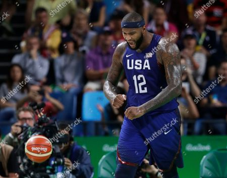 United States' DeMarcus Cousins (12) reacts during the men's gold medal basketball game against Serbia at the 2016 Summer Olympics in Rio de Janeiro, Brazil