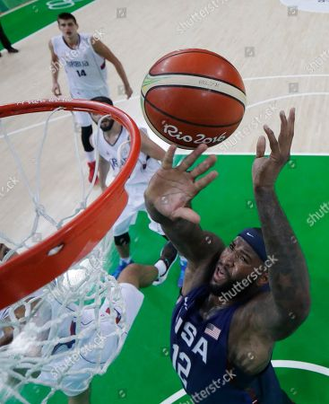 United States' DeMarcus Cousins shoots during the men's gold medal basketball game against Serbia at the 2016 Summer Olympics in Rio de Janeiro, Brazil