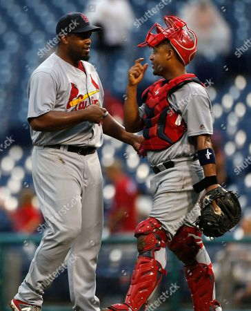 Jerome Williams, Yadier Molina St. Louis Cardinals closing pitcher Jerome Williams, left, is congratulated by catcher Yadier Molina (4) after they defeated the Philadelphia Phillies in a baseball game, in Philadelphia