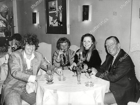 Dr Who Actor Tom Baker And Wife Dining With Her Parents Viscount And Lady Bangor At The Albatross Restaurant. (l-r) Tom Baker Lady Marjorie Bangor Actress Lalla Ward And Edward 7th Lord Bangor Best Known As Broadcaster Edward Ward. Box 697 120707161 A.jpg.