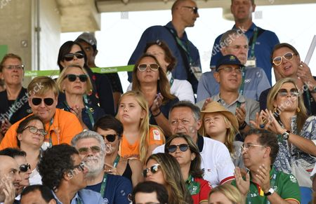 Stock Image of King Willem-Alexander and Queen Maxima and Princess Amalia and Princess Alexia and Camiel Eurlings during the women hockey final match between Netherlands v Britain at the Olympic Hockey Centre in Rio de Janeiro, Brazil.