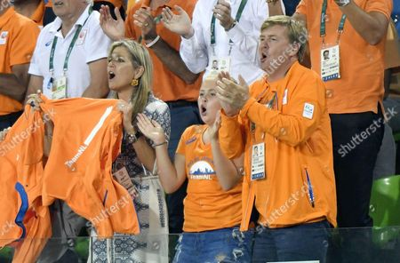 King Willem-Alexander and Queen Maxima and Princess Amalia and Princess Alexia and Camiel Eurlings during the women hockey final match between Netherlands v Britain at the Olympic Hockey Centre in Rio de Janeiro, Brazil.