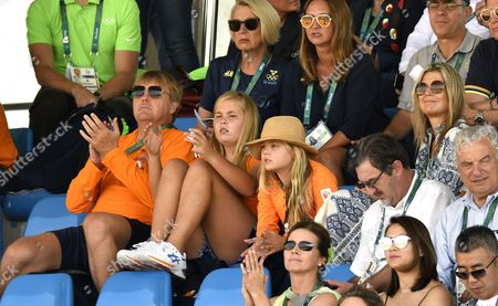 Stock Picture of King Willem-Alexander and Queen Maxima and Princess Amalia and Princess Alexia and Camiel Eurlings during the women hockey final match between Netherlands v Britain at the Olympic Hockey Centre in Rio de Janeiro, Brazil.