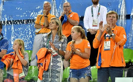 Stock Photo of King Willem-Alexander and Queen Maxima and Princess Amalia and Princess Alexia and Camiel Eurlings during the women hockey final match between Netherlands v Britain at the Olympic Hockey Centre in Rio de Janeiro, Brazil.