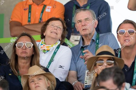 Stock Photo of Former IOC President Jacques Rogge and his wife attend round 2 of the Equestrian Jumping at the Olympic Equestrian Centre during the Rio 2016 Olympic Games in Rio de Janeiro,