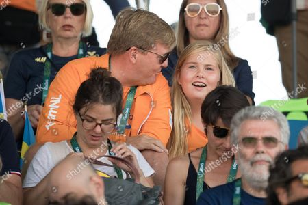 Stock Photo of Crown Princess Catharina-Amalia and King Willem-Alexander of The Netherlands attend round 2 of the Equestrian Jumping at the Olympic Equestrian Centre during the Rio 2016 Olympic Games in Rio de Janeiro,
