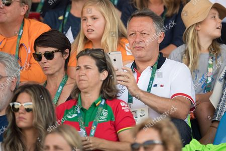 Secretary of State for Sports, Thierry Braillard and his wife Sophie attend round 2 of the Equestrian Jumping at the Olympic Equestrian Centre during the Rio 2016 Olympic Games in Rio de Janeiro,