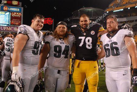 Taylor Hart #97, Beau Allen #94, Alejandro Villanueva #78, and Andrew Gardner #66 during the Philadelphia Eagles vs Pittsburgh Steelers game at Heinz Field