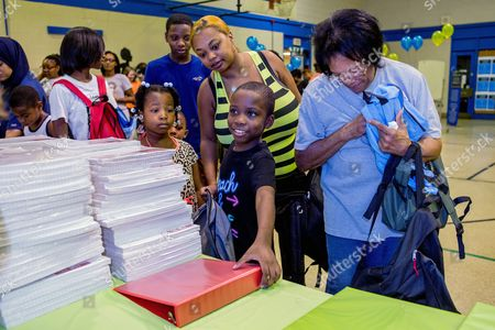 Clorox Parents and students shop at the Clorox® Back-To-School Pop-up Shop at the Andrew Hamilton School on  in Philadelphia. Clorox® simplifies the back-to-school shopping experience for students and teachers through a free school supply pop-up shop