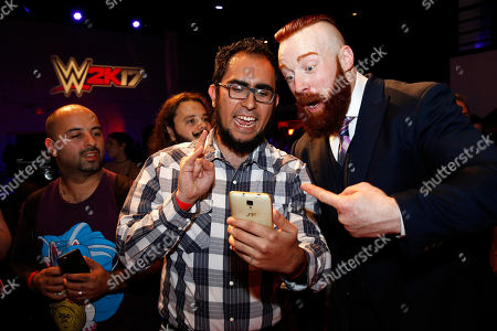 Sheamus WWE Superstar Sheamus is seen at the WWE 2K17 SummerSlam Kickoff Event in New York, on